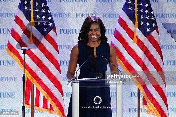 S First Lady Michelle Obama speaks onstage during Fortune's Most Powerful Women Summit Day 2 at The Robert and Arlene Kogod Courtyard on October 13...