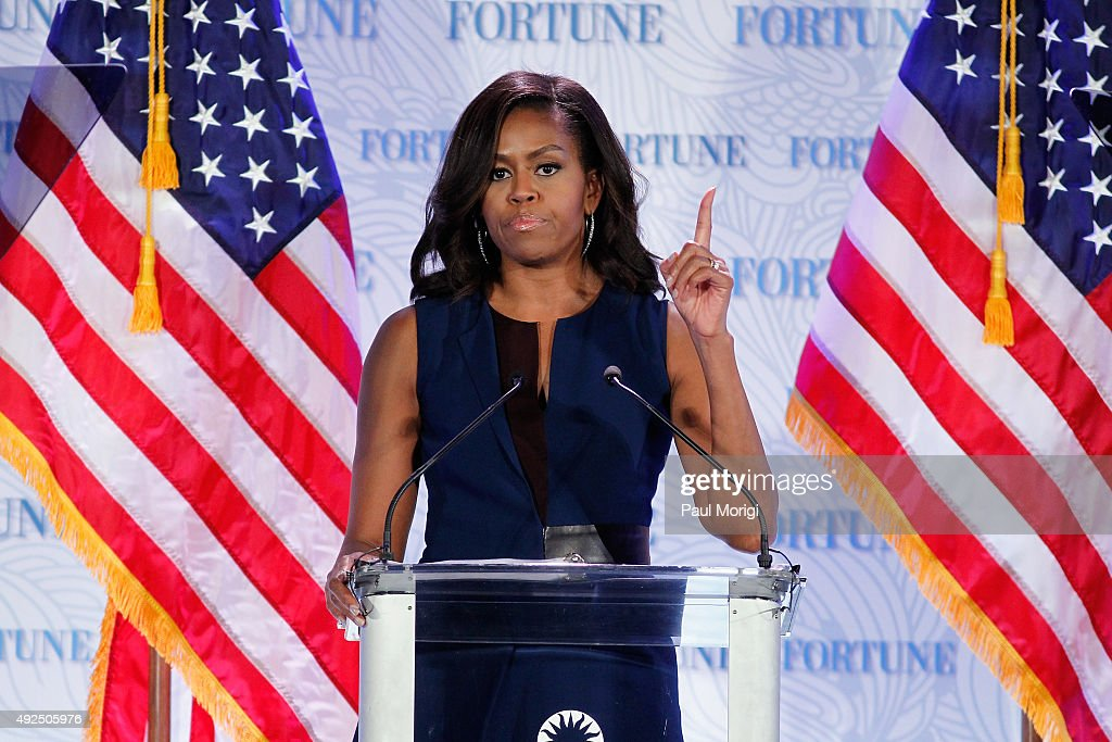U.S. First Lady Michelle Obama speaks onstage during Fortune's Most Powerful Women Summit - Day 2 at The Robert and Arlene Kogod Courtyard on October 13, 2015 in Washington, DC.