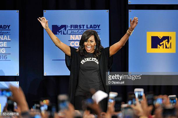 First Lady Michelle Obama speaks onstage during the 3rd Annual College Signing Day at the Harlem Armory on April 26 2016 in New York City The event...