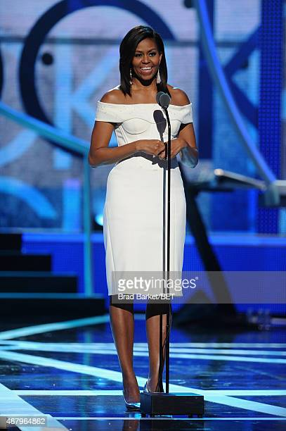 First Lady Michelle Obama speaks onstage during the Black Girls Rock BET Special at NJPAC – Prudential Hall on March 28 2015 in Newark New Jersey