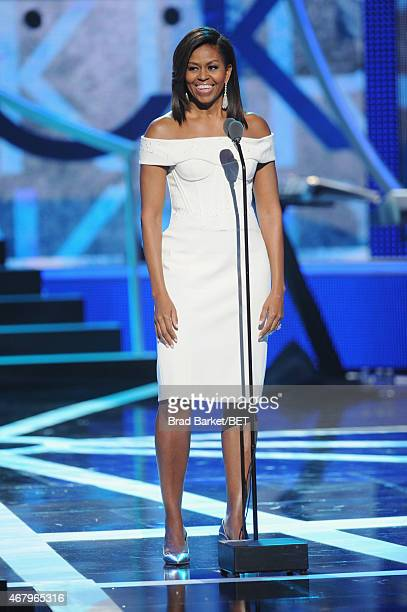 First Lady Michelle Obama speaks onstage during the 'Black Girls Rock' BET Special at NJPAC – Prudential Hall on March 28 2015 in Newark New Jersey