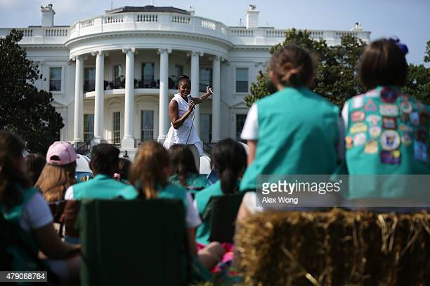 S first lady Michelle Obama speaks to fourthgrade Girl Scouts during the firstever White House Campout June 30 2015 at South Lawn of the White House...