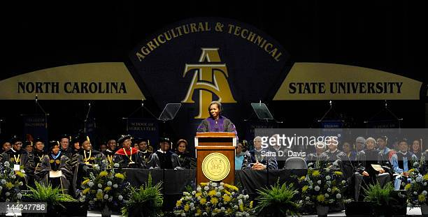 S First Lady Michelle Obama speaks to graduates at the North Carolina Agricultural and Technical State University Commencement May 12 in Greensboro...