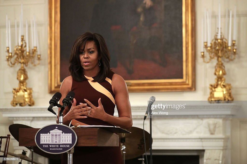 First Lady Michelle Obama Welcomes High School Students For History Of Jazz Student Workshop : News Photo
