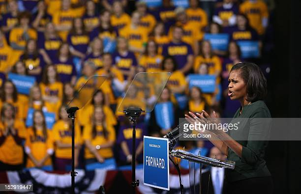 First lady Michelle Obama speaks to students and other guests during a rally at the McLeod Center on the campus of the University of Northern Iowa on...