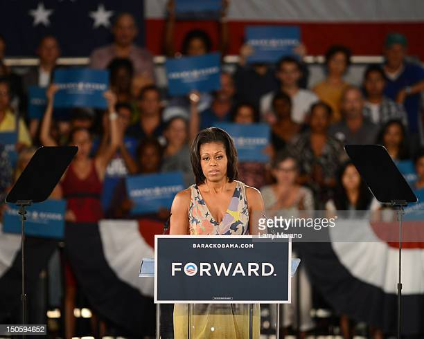 First Lady Michelle Obama speaks to supporters at the War Memorial Auditorium on August 22, 2012 in Fort Lauderdale, Florida.