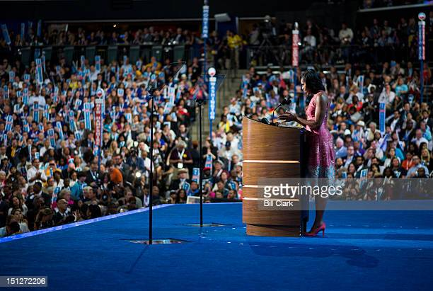 First Lady Michelle Obama speaks to the Democratic National Convention at Time Warner Cable Arena in Charlotte NC on Tuesday Sept 4 2012
