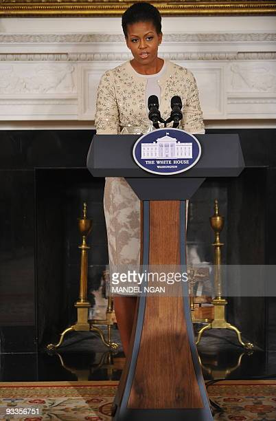 First Lady Michelle Obama speaks to young women from the White House leadership and mentoring program during a presentation on the history and...