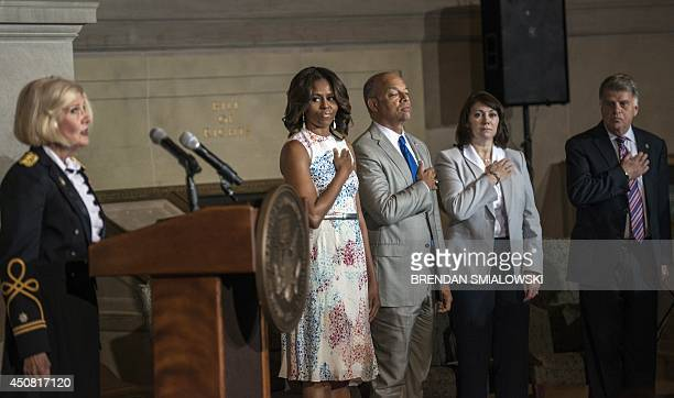 US First Lady Michelle Obama US Secretary of Homeland Security Jeh Johnson Lori Scialabba acting Director of the US Citizen and Immigration Service...
