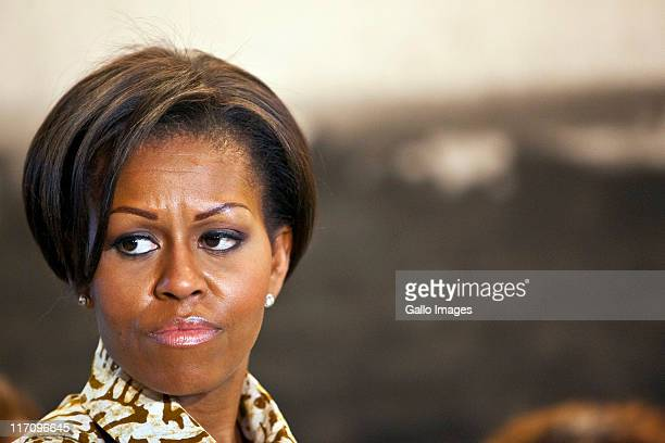 US First Lady Michelle Obama visits the Apartheid Museum on June 21 2011 in Johannesburg South Africa The first lady along with her daughters and...