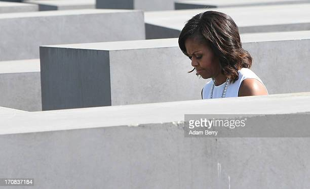 S First Lady Michelle Obama visits the Memorial to the Murdered Jews of Europe on June 19 2013 in Berlin Germany US President Barack Obama is...