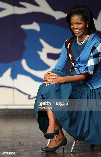 First Lady Michelle Obama watches students during a visit to the Elizabeth Garrett Anderson Secondary School on April 2, 2009 in Borough of Islington...