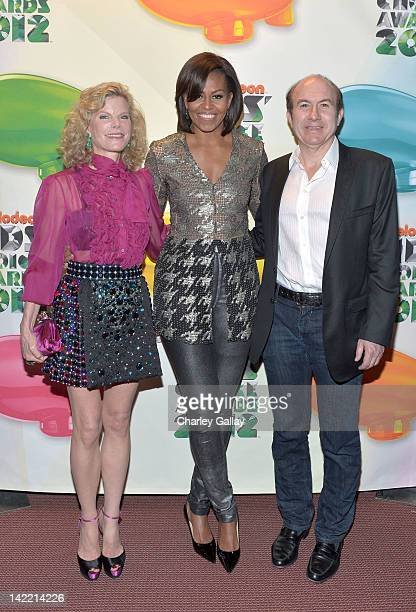 First Lady Michelle Obama with Deborah Dauman and Viacom President/CEO Philippe Dauman arrive at Nickelodeon's 25th Annual Kids' Choice Awards held...