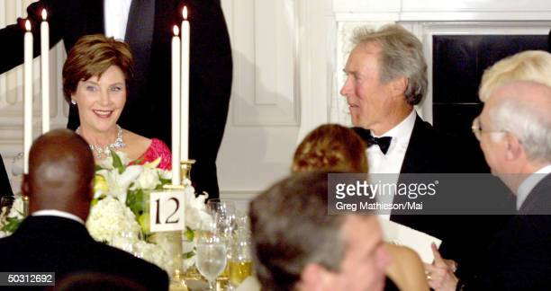First Lady Mrs Laura Bush and actor Clint Eastwood at the state dinner for Mexican President Vicente Fox