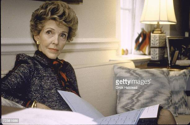 First Lady Nancy Reagan at work in the White House