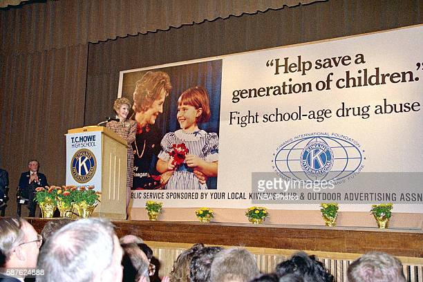 First Lady Nancy Reagan attends a Just Say No event at Thomas Carr Howe High School on February 4 1988 in Indianapolis Indiana NOTE TO USER User...