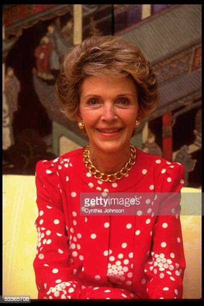 First Lady Nancy Reagan during an interview in the family quarters of the WH
