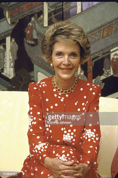 First Lady Nancy Reagan during interview by Time Magazine's Hugh Sidey in family quarters of the White House