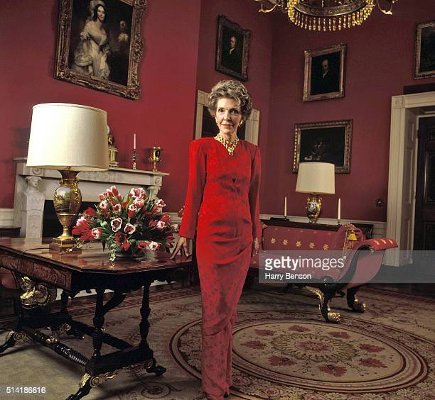 First Lady Nancy Reagan is photographed in 1986 in the Red Room of the White House in Washington DC