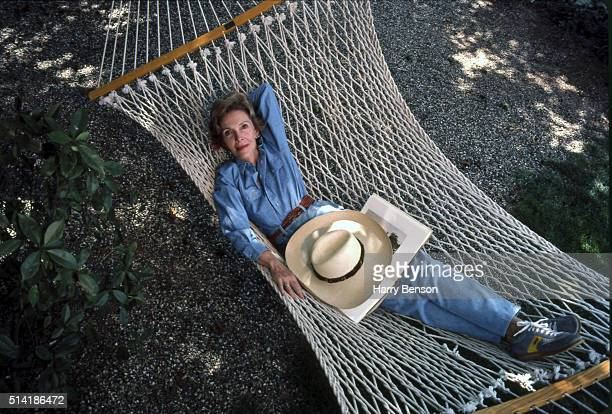 First Lady Nancy Reagan is photographed on a hammock in 1983 at Rancho del Cielo in Calforinia