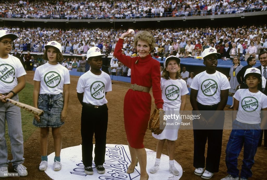 First Lady Nancy Regan throws out the first pitch before game one of the 1988 World Series between the Oakland Athletics and the Los Angeles Dodgers, October 15, 1988 at Dodger Stadium in Los Angeles, California. The Dodgers won the series 4-1.