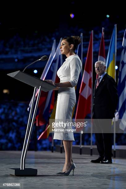 First Lady of Azerbaijan and Chair of the Baku 2015 European Games Organising Committee Mehriban Aliyeva delivers a speech during the Opening...