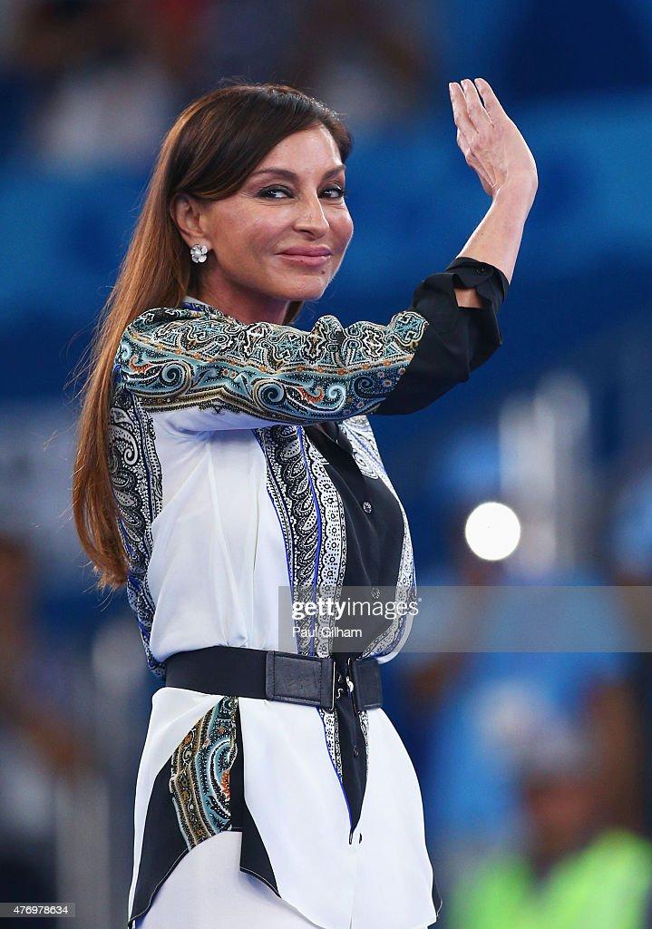 First Lady of Azerbaijan and Chair of the Baku 2015 European Games Organising Committee, Mehriban Aliyeva looks on prior to the Karate Kumite medal ceremonies on day one of the Baku 2015 European Games at Crystal Hall on June 13, 2015 in Baku, Azerbaijan.