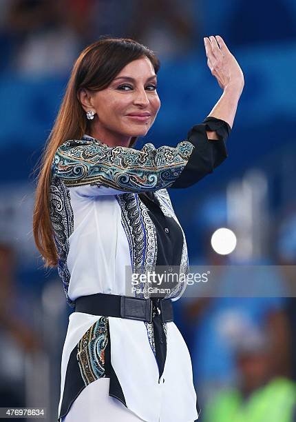 First Lady of Azerbaijan and Chair of the Baku 2015 European Games Organising Committee Mehriban Aliyeva looks on prior to the Karate Kumite medal...