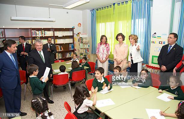 first Lady of Colombia Maria Clemencia Rodriguez Queen Sofia of Spain and President of Madrid's regional government Esperanza Aguirre visit Federico...