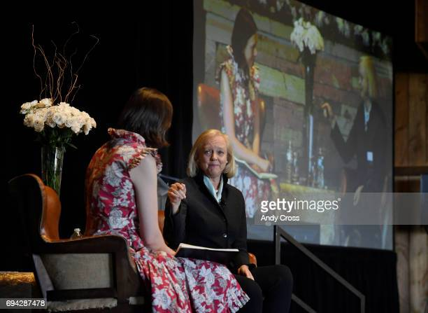 First Lady of Colorado Robin Hickenlooper left and CEO and President of Hewlett Packard Enterprise Meg Whitman talk at the Women in Technology...