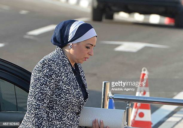 First Lady of Egypt Entissar Mohameed Amer El-sisi attends the opening ceremony of a new waterway at the Suez Canal on August 6 in the port city of...