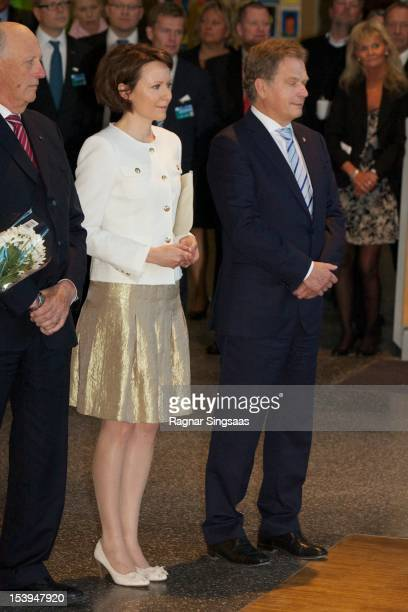 First Lady of Finland Jenni Haukio and President of Finland Sauli Vainamo Niinisto visit Rommen school and cultural centre during the second day of...