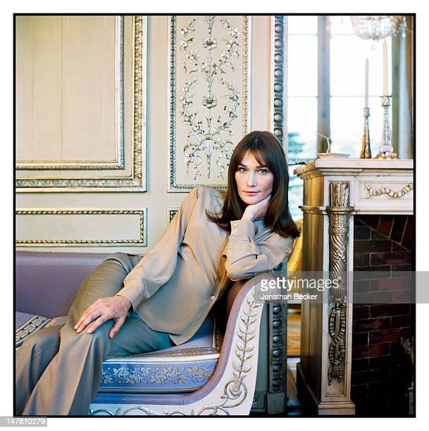 First lady of France Carla Bruni Sarkozy poses for Vogue Magazine at the at Elysee Palace on January 7 2009 in Paris France