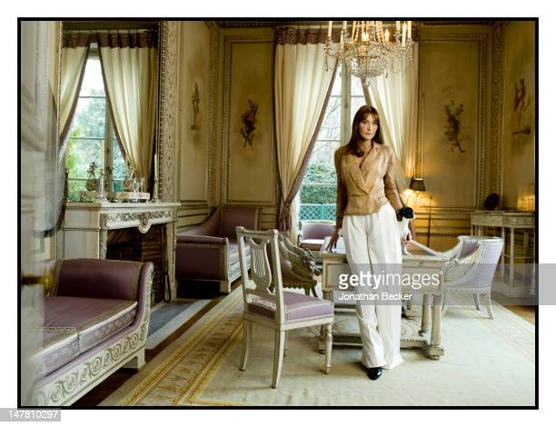 First lady of France Carla Bruni Sarkozy poses for Vogue Magazine at the at Elysee Palace on January 7 2009 in Paris France PUBLISHED IMAGE