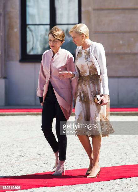 First Lady of Germany Elke Buedenbender, First Lady Agata Kornhauser-Duda on May 19, 2017.