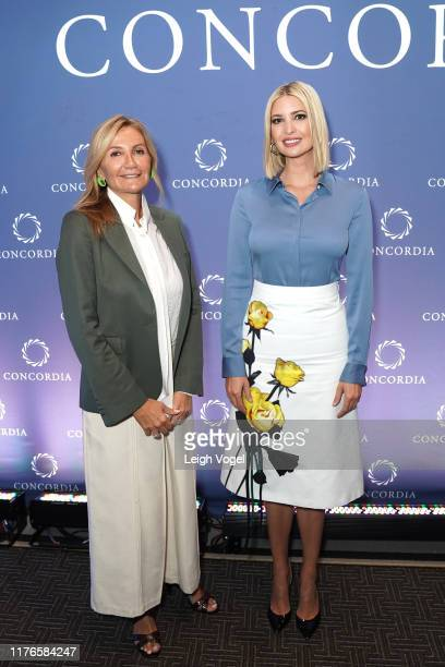 First Lady of Greece, Mareva Grabowski-Mitsotakis and Advisor to the President Ivanka Trump pose for a picture during the 2019 Concordia Annual...