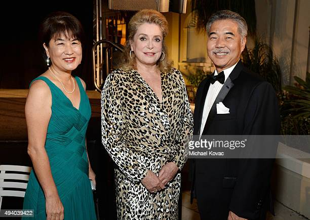 First Lady of Hawaii Dawn AmanoIge honoree Catherine Deneuve and Governor of Hawaii David Ige attend the 6th Annual Hawaii European Cinema Film...