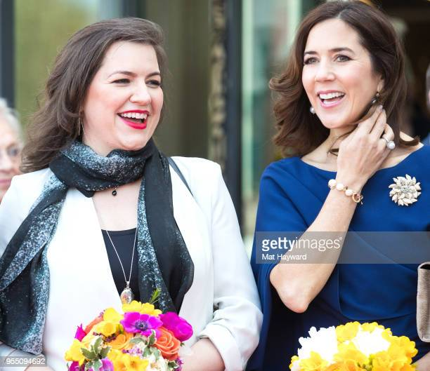 First Lady of Iceland Eliza Reid and Her Royal Highness Crown Princess Mary of Denmark laugh during the official public ribbon cutting ceremony at...