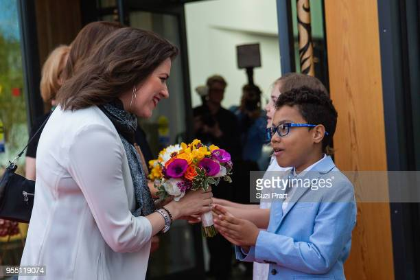 First Lady of Iceland Eliza Reid receives flowers at the Nordic Museum on May 5 2018 in Seattle Washington