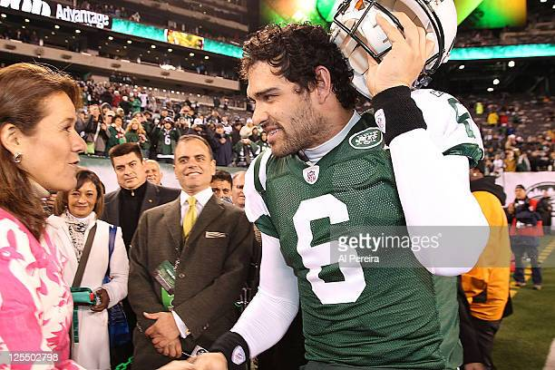 First Lady of Mexico Margarita Zavala and Quarterback Mark Sanchez attend the Cincinnati Bengals Vs New York Jets game at the New Meadowlands Stadium...