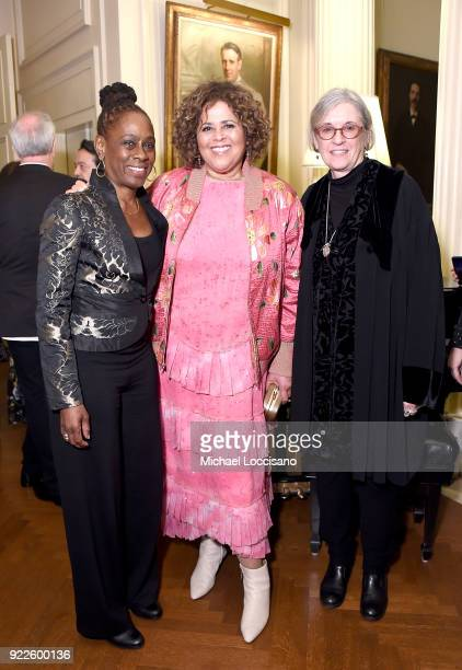 First Lady of New York City Chirlane McCray actress playwright and executive producer Anna Deavere Smith and director Kristi Zea attend the cocktail...