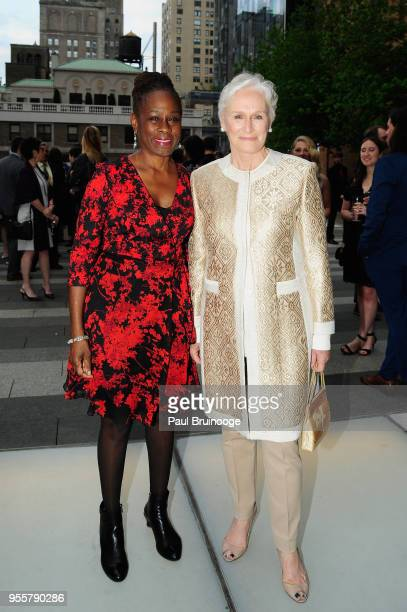 First Lady of New York City Chirlane McCray and Honoree and Cofounder of Bring Change 2 Mind Glenn Close attend the 2018 Change Maker Awards at...