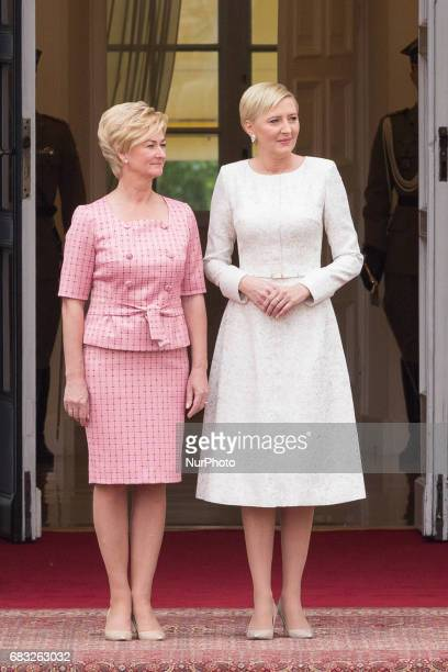 First Lady of Poland Agata Kornhauser-Duda and First Lady of Latvia Iveta Vejone at Presidential Palace in Warsaw, Poland on 15 May 2017