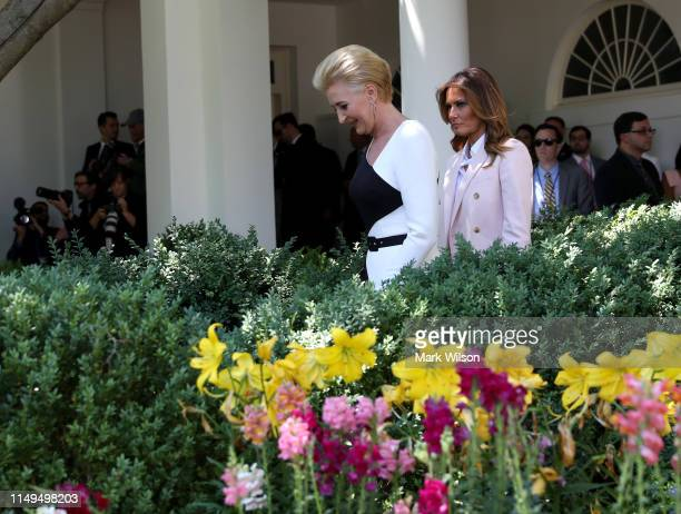 First Lady of Poland Agata KornhauserDuda and US first lady Melania Trump arrive to a joint press conference between US President Donald Trump and...
