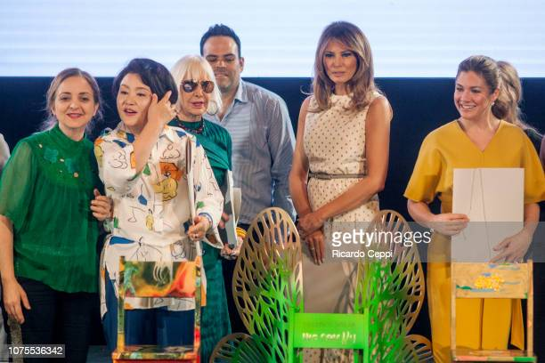 First Lady of Republic of Korea Kim Jungsook Argentine artist Marta Minujín US First Lady Melania Trump and First Lady of Canada Sophie Gregoire...
