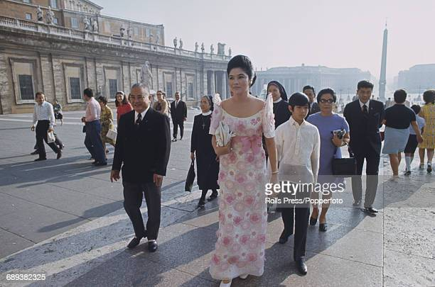 First Lady of the Philippines Imelda Marcos pictured walking in St Peter's Square in Vatican City during a visit to Rome, Italy in December 1970.
