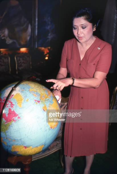 First Lady of the Philippines Imelda Marcos, wife of President Ferdinand Marcos, in her office at Malacanang Palace in Manila.