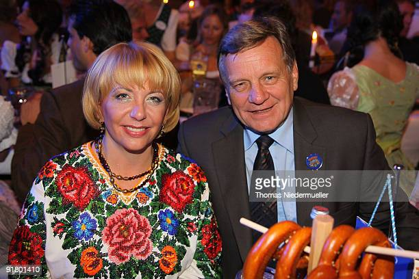 First Lady of the Ukraine Kateryna Juschtschenko and Hartmut Mehdorn attend the celebration of the 60th birthday of Roland Mack at Europapark on...