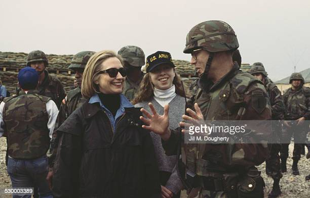 First Lady of the United States Hillary Clinton and her daughter Chelsea visit US troops at Tuzla Air Base Bosnia and Herzegovina 25th March 1996