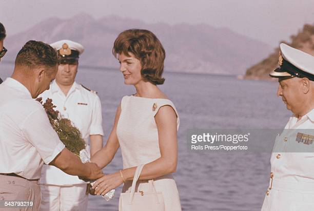 First Lady of the United States Jackie Kennedy is greeted by the mayor of Epidaurus in Greece after her arrival from Athens in June 1961 Photo by...